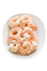 fresh cooked king prawns in a dish isolated