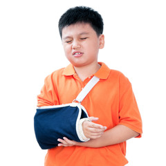 Young Boy With Broken Arm In Plaster Cast