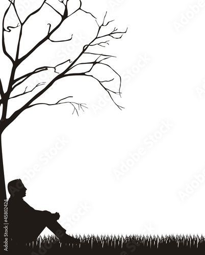 man sitting silhouette