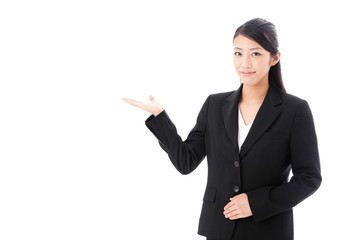 asian businesswoman on showing white background