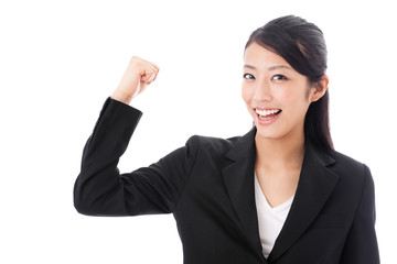 asian businesswoman showing muscle onwhite background