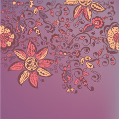 Floral ornate banner with traditonal decor