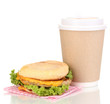 Paper cup of coffee and burger isolated on white