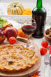 Apple pie or tart with red wine