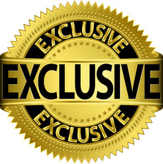 Golden exclusive label, vector illustration