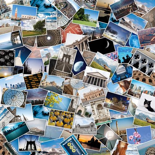 Stos obrazów podróży ze świata.