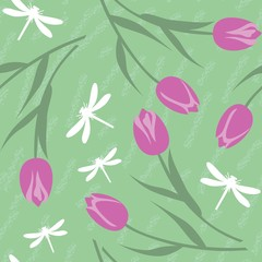 Seamless grunge tulip texture 519