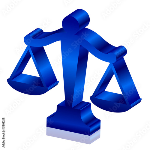 Vector 3d icon of justice scales