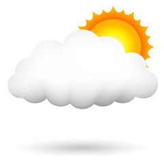 Vector illustration of cloud ans sun