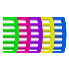 Vector illustration of colorful combs