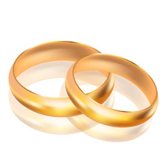 Vector illustration of big and small gold rings