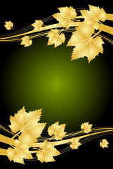 Vector autumn green and gold frame