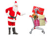 Santa Claus showing a shopping cart full of presents