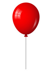 Vector illustration of red balloon on stick