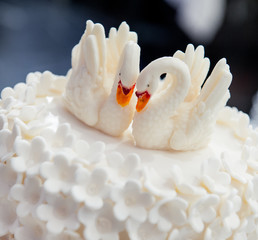 Wedding cake decorated with swans
