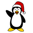 Cartoon Santa penquin hand writing.