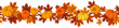 Vector horizontal background with pumpkins and autumn leaves