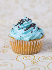 One blue cupcake on a  tablecloth 4