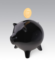 coin with euro mark dropping in to black piggy bank
