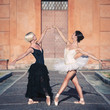 Young beautiful dancers in front of San Luca church. Bologna
