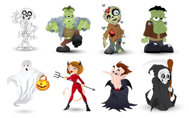 Detailed Halloween Characters Illustration Set in Vector