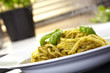 Pasta pesto with basil