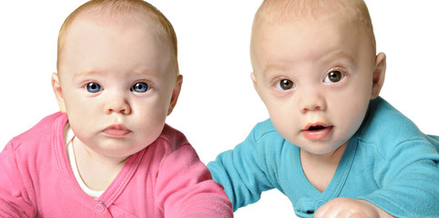 Six month old twin brother and sister