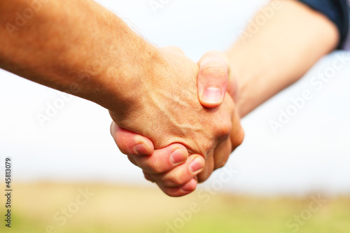 Closeup of people shaking hands - 45813079