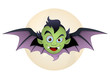 Vampire Face Bat Cartoon Vector Illustration