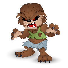 Funny Werewolf Vector Illustration