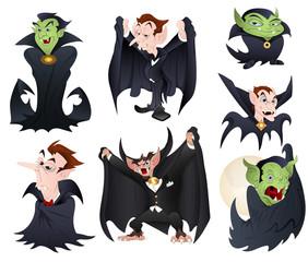 Vector Illustrations of Dracula and Vampires n Monsters