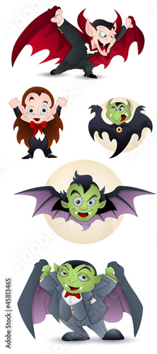 Collection of Cartoon Dracula and Vampires