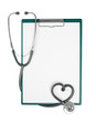 medical clipboard with stethoscope in shape of heart