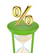 Golden Percent symbol on a green sand glass.
