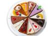 Twelve different pieces of cake