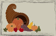 Thanksgiving card with cornucopia