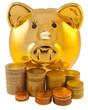 tirelire dorée, pièces d'euros