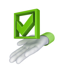 Stylized hand and green tick mark.