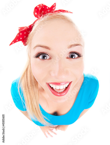 Cheerful funny girl isolated on white