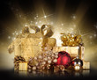 Christmas gifts with gold shine