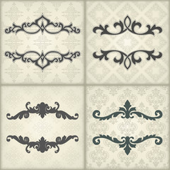 Set of vintage template with floral frame