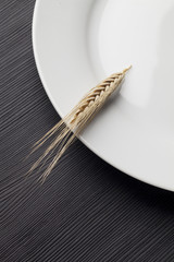 White dish and a ear of weat