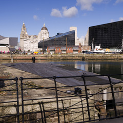 View over the Docklands Buildings in Liverpool England