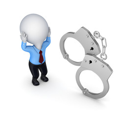 Stressed 3d small person and handcuff.