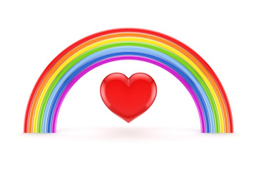 Rainbow and heart symbol.
