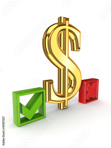 Dollar sign between tick and cross marks.