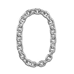 3d Chain Numbers Font - 0