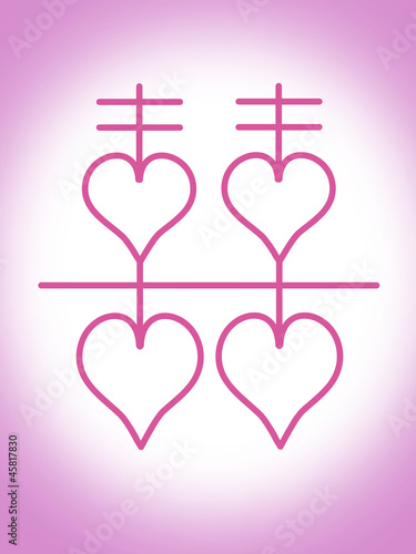Double happiness Chinese traditional wedding and fenshui symbol