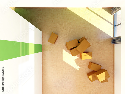 maisonette galerie wohnung umzugskartons von oben 3d stockfotos und lizenzfreie bilder auf. Black Bedroom Furniture Sets. Home Design Ideas