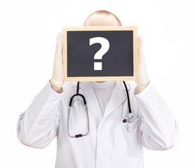 Doctor shows information on blackboard: question mark